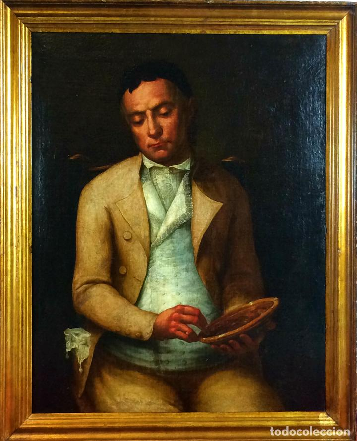RETRATO DE CABALLERO. ÓLEO SOBRE LIENZO. SEGUIDOR DE GOYA. ESPAÑA- XVIII-XIX (Arte - Pintura - Pintura al Óleo Antigua siglo XVIII)