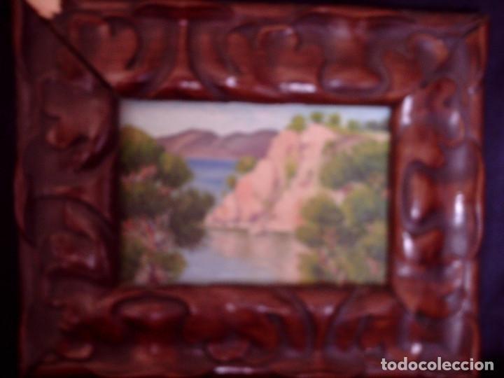 ~~~~ OLEO SOBRE TABLA - PAISAJE -BONITO ENMARCAJE DE MADERA ANTIGUO, MIDE 22X18, TABLITA 14X10 CM.~~ (Arte - Pintura - Pintura al Óleo Moderna sin fecha definida)