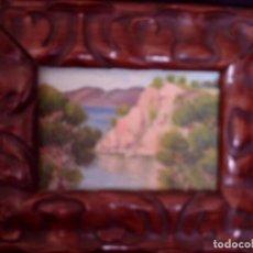 Arte: ~~~~ OLEO SOBRE TABLA - PAISAJE -BONITO ENMARCAJE DE MADERA ANTIGUO, MIDE 22X18, TABLITA 14X10 CM.~~. Lote 72830591