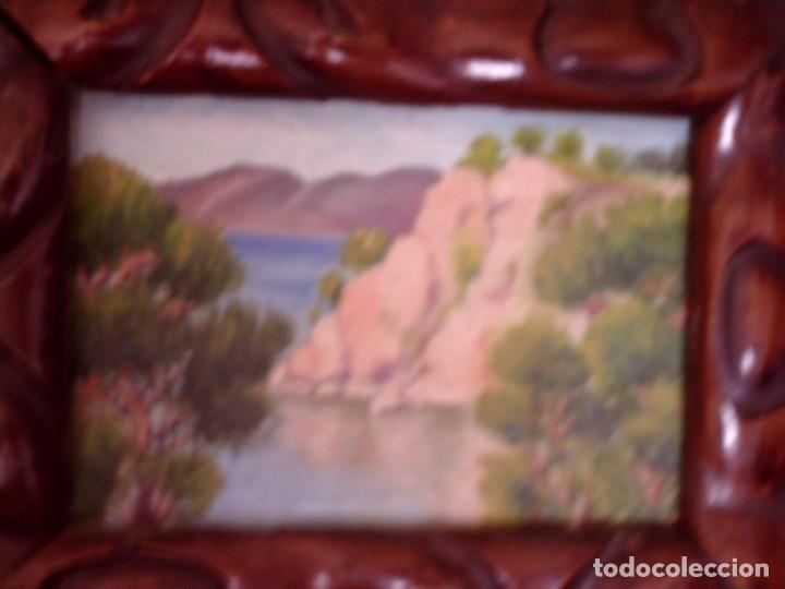 Arte: ~~~~ OLEO SOBRE TABLA - PAISAJE -BONITO ENMARCAJE DE MADERA ANTIGUO, MIDE 22X18, TABLITA 14X10 CM.~~ - Foto 2 - 72830591