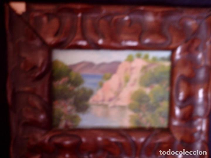 Arte: ~~~~ OLEO SOBRE TABLA - PAISAJE -BONITO ENMARCAJE DE MADERA ANTIGUO, MIDE 22X18, TABLITA 14X10 CM.~~ - Foto 3 - 72830591