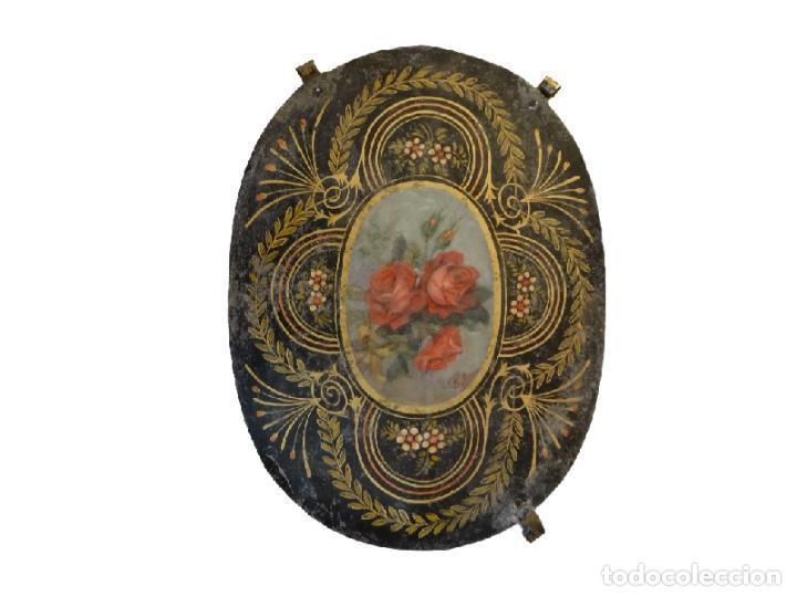 Arte: Antiquísimas chapas pintadas al óleo , flores con filigranas., Maravillosas, Unicas. - Foto 3 - 72874195