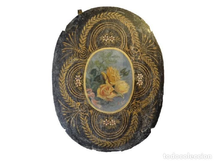 Arte: Antiquísimas chapas pintadas al óleo , flores con filigranas., Maravillosas, Unicas. - Foto 4 - 72874195