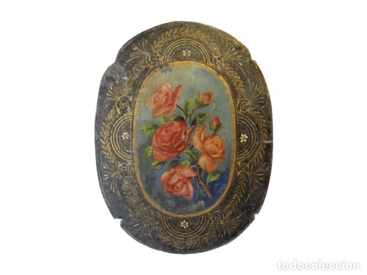 Arte: Antiquísimas chapas pintadas al óleo , flores con filigranas., Maravillosas, Unicas. - Foto 5 - 72874195