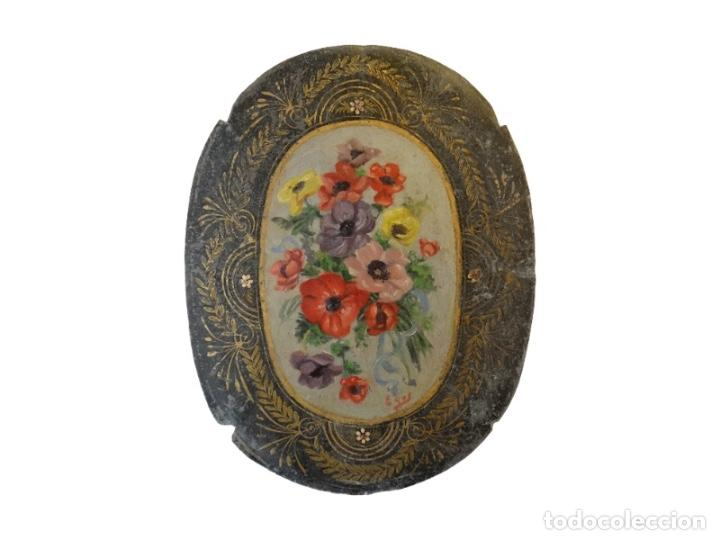 Arte: Antiquísimas chapas pintadas al óleo , flores con filigranas., Maravillosas, Unicas. - Foto 6 - 72874195