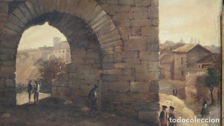 Arte: ANTIGUO Y PRECIOSO OLEO S/ CHAPA. VISTA DE PUEBLO SEGOVIANO. FINALES SIGLO XVIII - Foto 3 - 73130895
