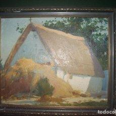 Arte: OLEO SOBRE TABLILLA, BARRACA .. Lote 73325431