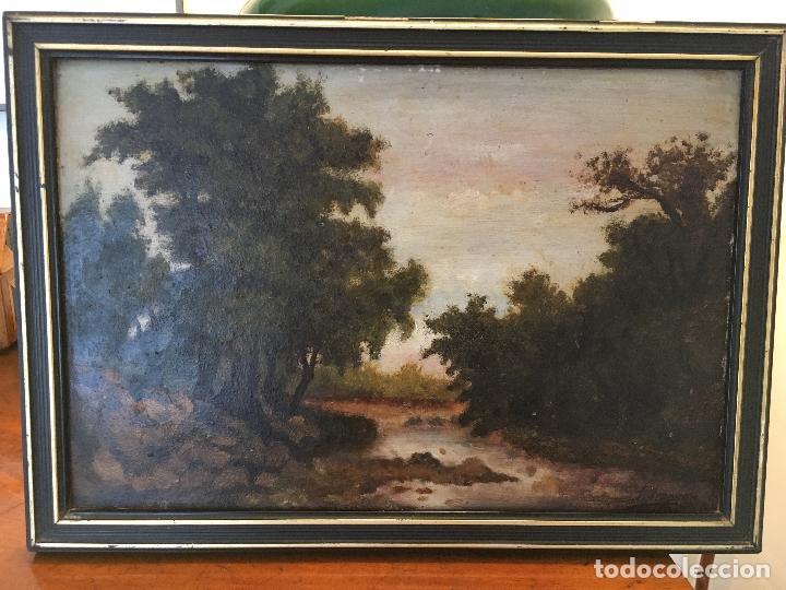 ÓLEO SOBRE TABLA PAISAJE S. XIX (Arte - Pintura - Pintura al Óleo Moderna siglo XIX)