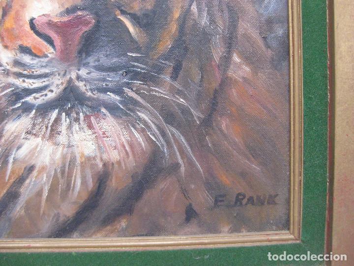 Arte: CUADRO PINTURA TIGRE ERNEST RANK , TIGER 1971 1973 FOR BLUE ISLAND ART CLUB, ILLINOIS, USA - Foto 2 - 73966803