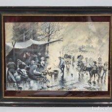 Arte: PRECIOSA GRISALLA SOBRE PAPEL. ESCENA COSTUMBRISTA. MANUEL RUIZ MORALES (BAZA 1857 - MADRID 1922). Lote 74158643