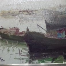 Arte: CUADRO ÓLEO SOBRE LIENZO DE ANTONIO SEGRELLES TEMA MAR Y BARCOS.MEDIDA 35 X 27 CM SIN MARCO.VER FOT. Lote 74351723