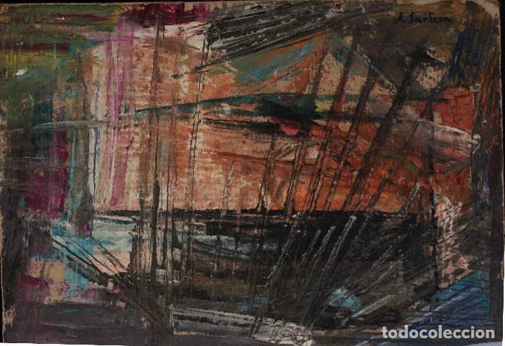 Arte: SANLEON. INTERESANTE OBRA ABSTRACTA, CARTÓN SOBRE TABLA, FIRMADO. 30X22CM - Foto 2 - 74489447