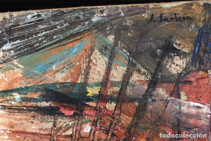 Arte: SANLEON. INTERESANTE OBRA ABSTRACTA, CARTÓN SOBRE TABLA, FIRMADO. 30X22CM - Foto 3 - 74489447
