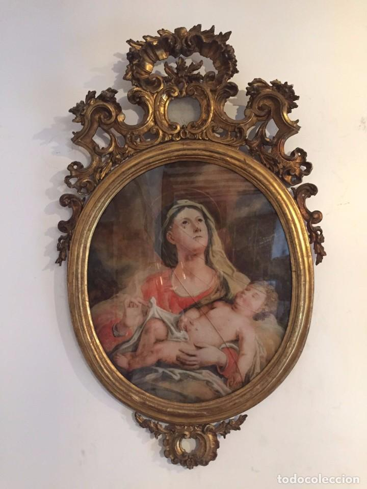 GRAN CORNUCOPIA DE MADERA TALLADA Y DORADA CON CRISTAL DE GRAN FORMATO PINTADO - SIGLO XVIII. (Arte - Pintura - Pintura al Óleo Antigua siglo XVIII)