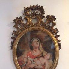 Arte: GRAN CORNUCOPIA DE MADERA TALLADA Y DORADA CON CRISTAL DE GRAN FORMATO PINTADO - SIGLO XVIII.. Lote 74591979