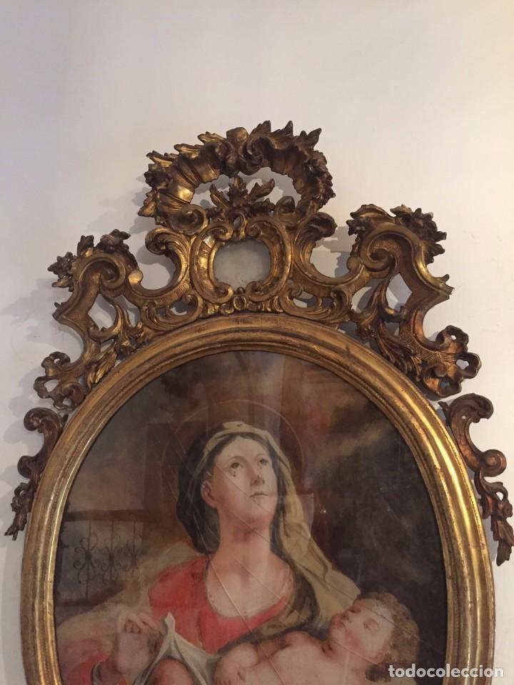 Arte: Gran Cornucopia de madera tallada y dorada con cristal de gran formato pintado - Siglo XVIII. - Foto 2 - 74591979