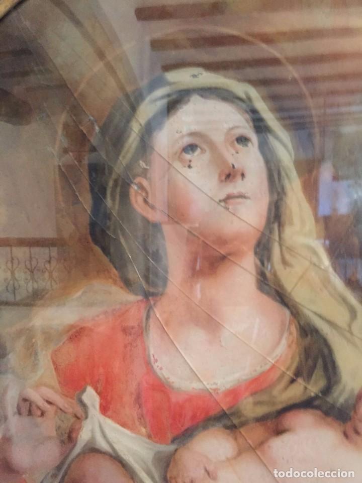 Arte: Gran Cornucopia de madera tallada y dorada con cristal de gran formato pintado - Siglo XVIII. - Foto 4 - 74591979