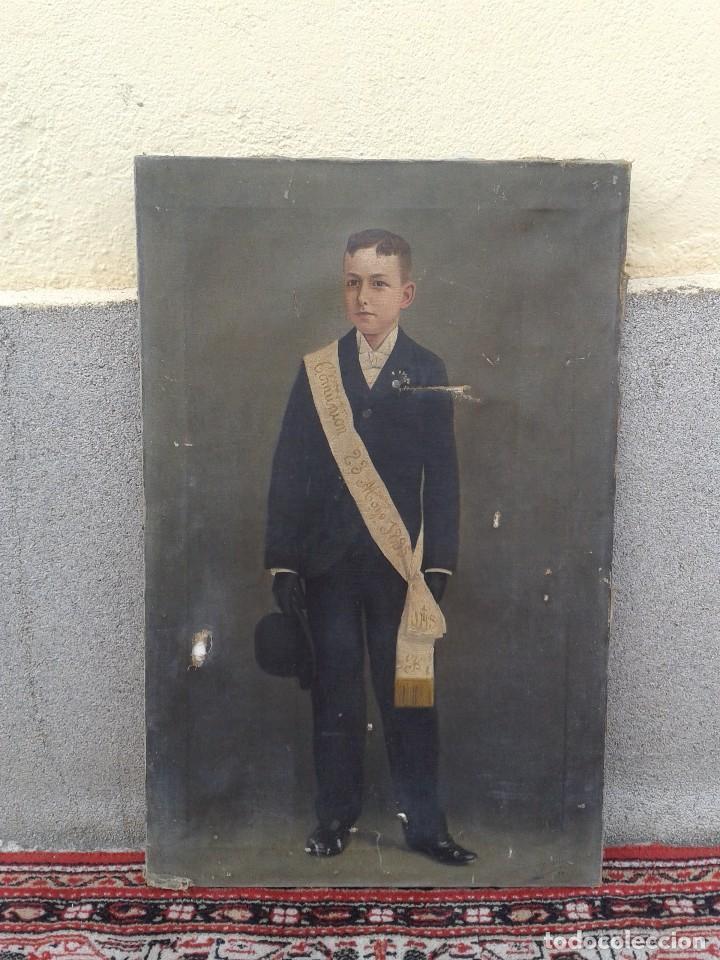 DOMINGO SOLER GILI 1898 OLEO SOBRE LIENZO, RETRATO DE NIÑO DE COMUNIÓN (Arte - Pintura - Pintura al Óleo Moderna siglo XIX)