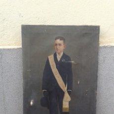 Arte: DOMINGO SOLER GILI 1898 OLEO SOBRE LIENZO, RETRATO DE NIÑO DE COMUNIÓN. Lote 74645755