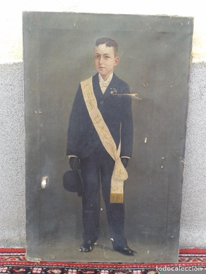Arte: Domingo Soler Gili 1898 oleo sobre lienzo, retrato de niño de comunión - Foto 2 - 74645755