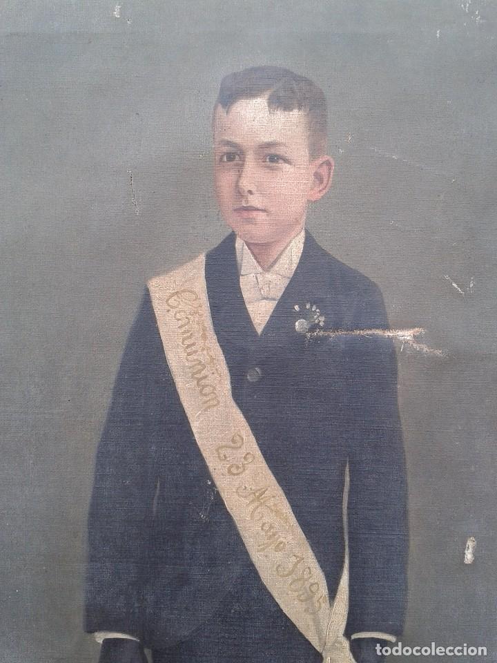 Arte: Domingo Soler Gili 1898 oleo sobre lienzo, retrato de niño de comunión - Foto 3 - 74645755