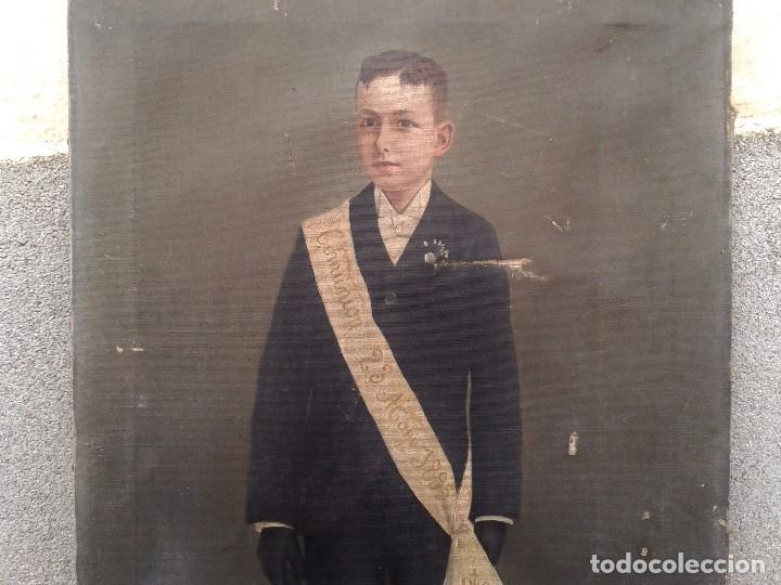 Arte: Domingo Soler Gili 1898 oleo sobre lienzo, retrato de niño de comunión - Foto 5 - 74645755