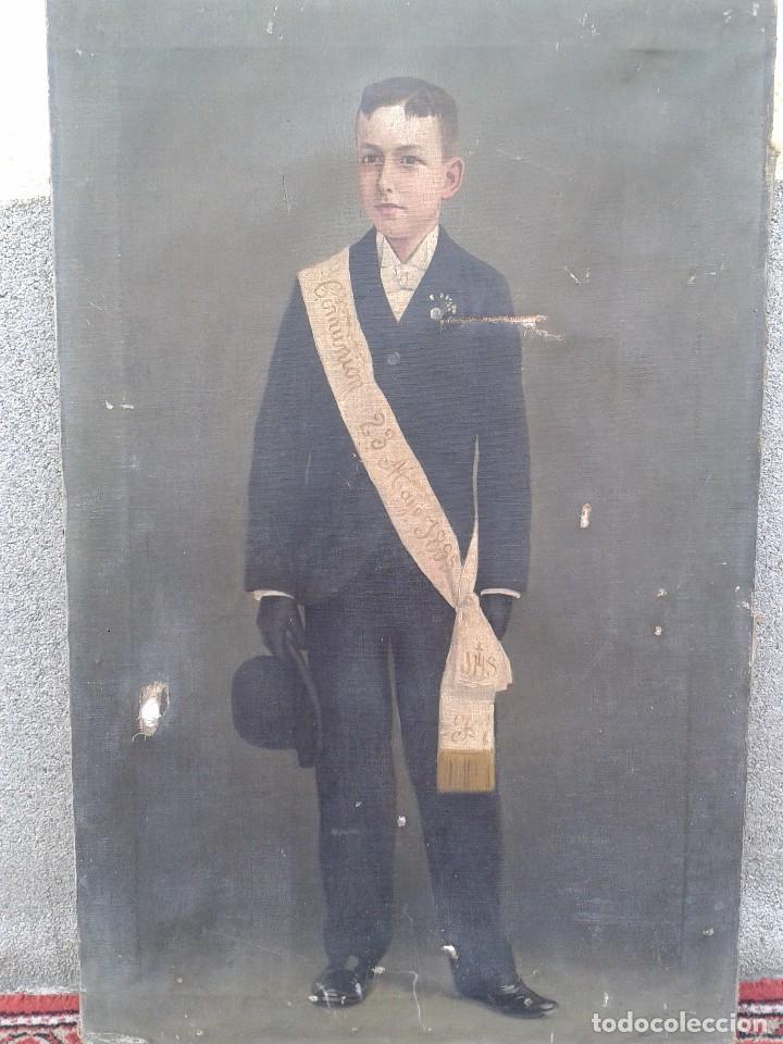 Arte: Domingo Soler Gili 1898 oleo sobre lienzo, retrato de niño de comunión - Foto 7 - 74645755