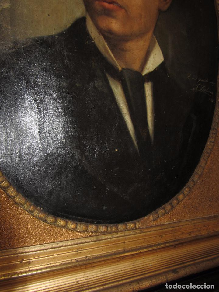 Arte: Oleo - Retrato de Caballero - Firmado y fechado en 1878 Julio Cebrián Mezquita (Valencia 1854-1926) - Foto 13 - 52663172