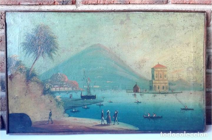 CUADRO ESCUELA ITALIANA DEL SIGLO XIX. VISTAS A LA BAHÍA DE NÁPOLES. ÓLEO SOBRE LIENZO. (Arte - Pintura - Pintura al Óleo Moderna siglo XIX)
