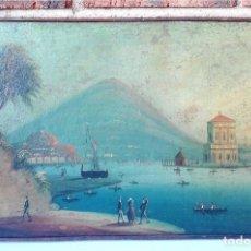 Arte: CUADRO ESCUELA ITALIANA DEL SIGLO XIX. VISTAS A LA BAHÍA DE NÁPOLES. ÓLEO SOBRE LIENZO.. Lote 72741315