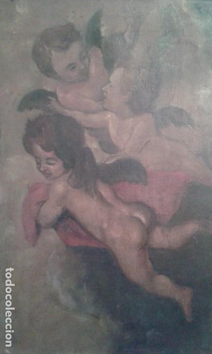 Arte: CUADRO OLEO SOBRE LIENZO CORO DE ANGELES MUY ANTIGUO - Foto 2 - 112416590
