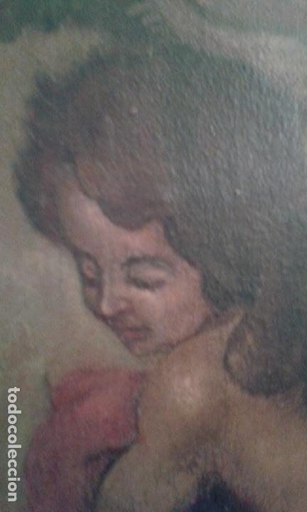 Arte: CUADRO OLEO SOBRE LIENZO CORO DE ANGELES MUY ANTIGUO - Foto 3 - 112416590