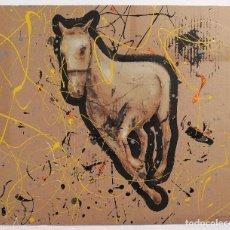 Arte: OBRA ORIGINAL EN ACRÍLICO SOBRE CARTÓN. CABALLO AL GALOPE. MIGUEL GONZÁLEZ 2016. Lote 75070899