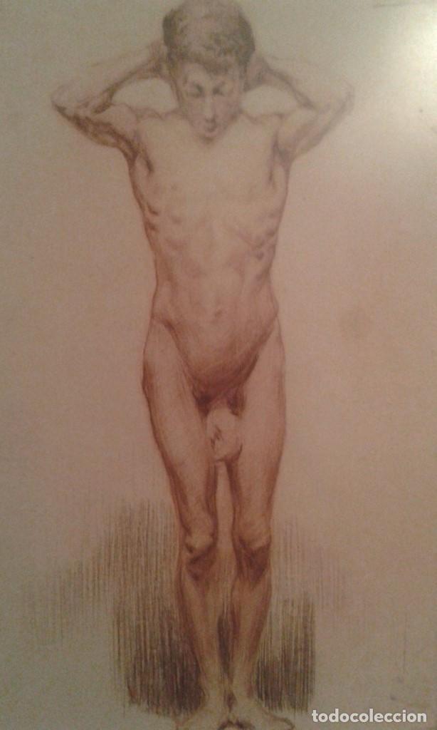 CUADRO DIBUJO PASTEL MUY ANTIGUO FIRMADO NAVARRO (MALAGA) (Arte - Pintura - Pintura al Óleo Antigua sin fecha definida)