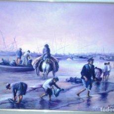 Arte: DESEMBARCO DE LA PESCA. JOLOGA. LIENZO 65X50.. Lote 75168730