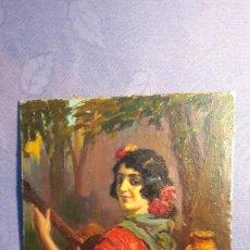 Arte: OLEO ANDALUZA CON GUITARRA, AUTOR HILARIE Z. LARRAMET 1863-1934. PINTOR PUBLICISTA . MED. 27X35 CM.. Lote 75305831