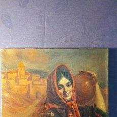 Arte: OLEO SOBRE LIENZO, ANDALUZA CON MANTON, AUTOR HILARIE Z. LARRAMET 1863-1934. 39X46,5 CM.. Lote 75306355