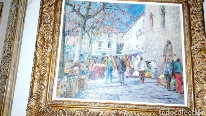 MERCADO OLEO SOBRE LIENZO DE MIQUEL CARBONELL 55X46 (Arte - Pintura - Pintura al Óleo Contemporánea )