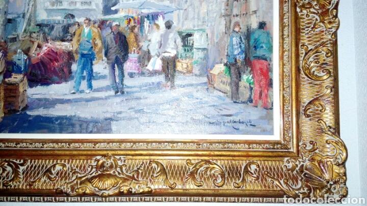 Arte: MERCADO oleo sobre lienzo de MIQUEL CARBONELL 55x46 - Foto 2 - 75306931