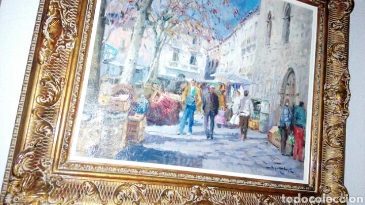 Arte: MERCADO oleo sobre lienzo de MIQUEL CARBONELL 55x46 - Foto 3 - 75306931