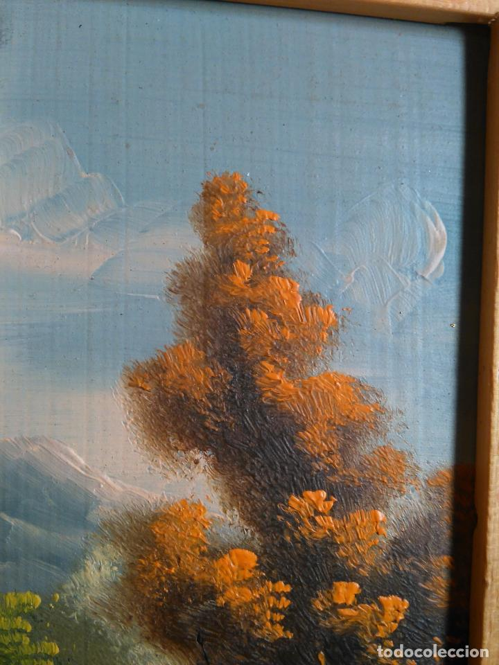 Arte: pintura oleo miniatura enmarcada paisaje . marco madera 20 x 12 cm - Foto 2 - 75478887