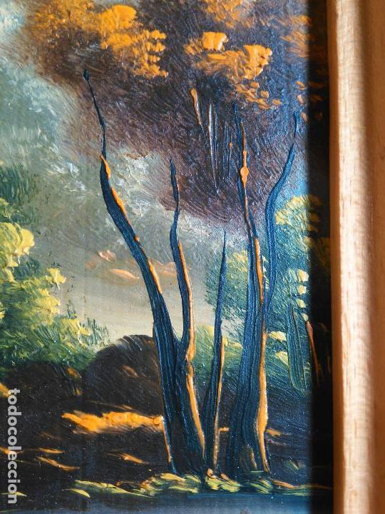 Arte: pintura oleo miniatura enmarcada paisaje . marco madera 20 x 12 cm - Foto 3 - 75478887