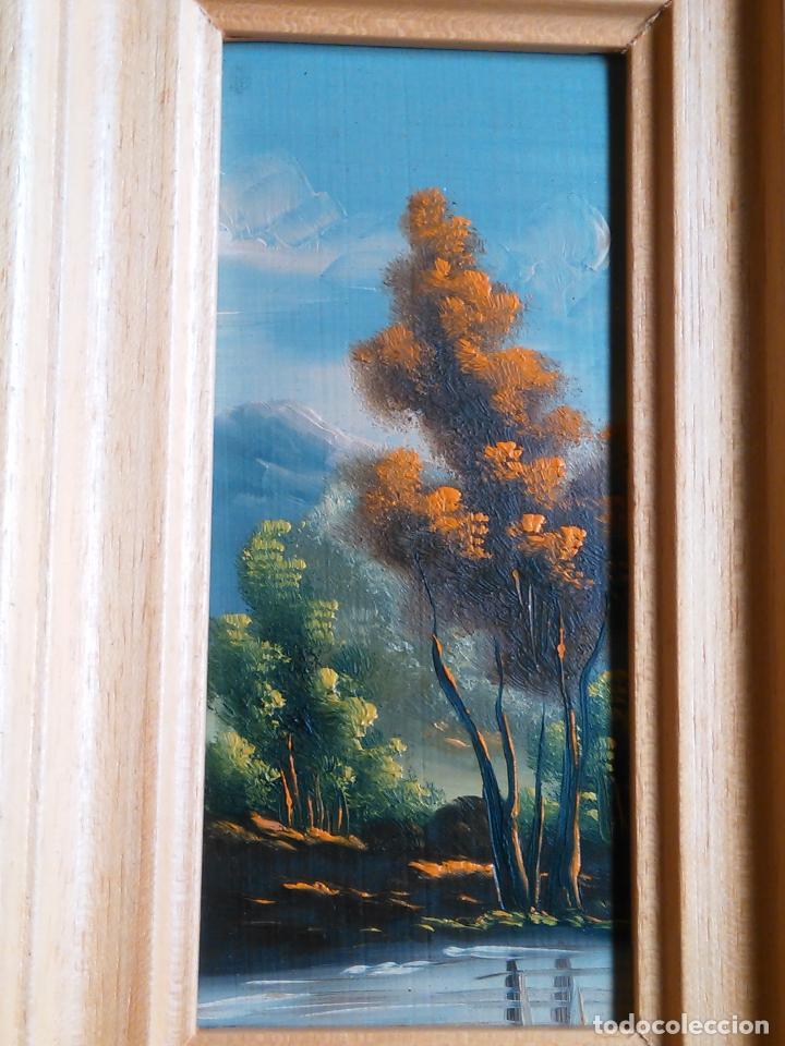Arte: pintura oleo miniatura enmarcada paisaje . marco madera 20 x 12 cm - Foto 4 - 75478887