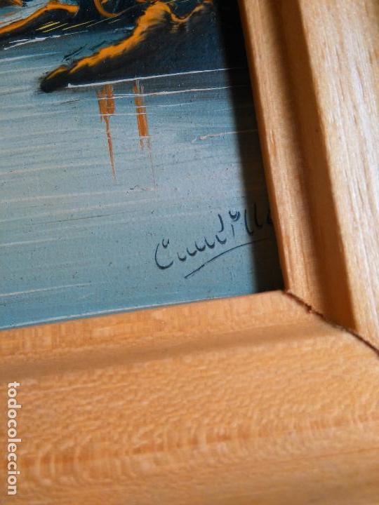 Arte: pintura oleo miniatura enmarcada paisaje . marco madera 20 x 12 cm firmada - Foto 3 - 75478983