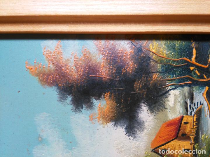 Arte: pintura oleo miniatura enmarcada paisaje . marco madera 20 x 12 cm firmada - Foto 5 - 75478983