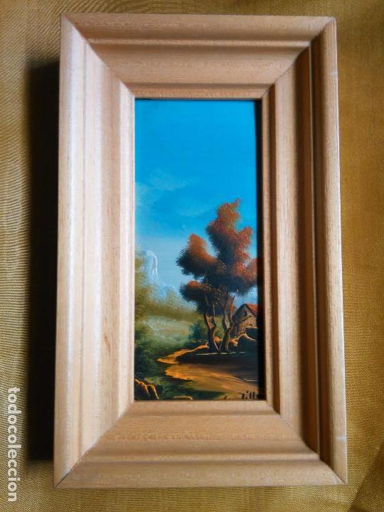 PINTURA OLEO MINIATURA ENMARCADA PAISAJE . MARCO MADERA 20 X 12 CM FIRMADA (Arte - Pintura - Pintura al Óleo Contemporánea )
