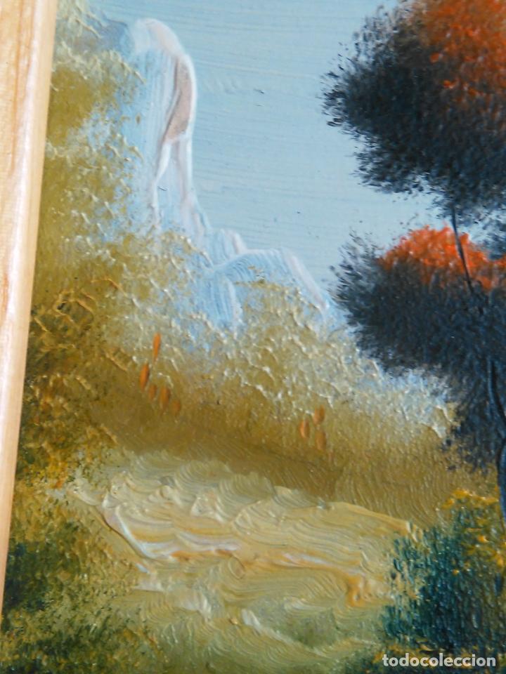 Arte: pintura oleo miniatura enmarcada paisaje . marco madera 20 x 12 cm firmada - Foto 2 - 75479087