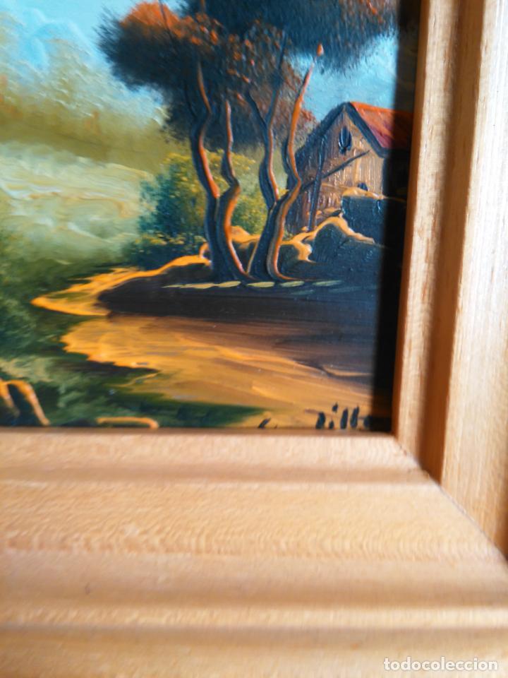 Arte: pintura oleo miniatura enmarcada paisaje . marco madera 20 x 12 cm firmada - Foto 3 - 75479087