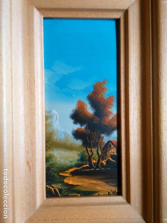 Arte: pintura oleo miniatura enmarcada paisaje . marco madera 20 x 12 cm firmada - Foto 5 - 75479087