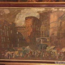 Arte: VISTA DE LA BARCELONA GOTICA, OLEO SOBRE ARPILLERA. Lote 191615427